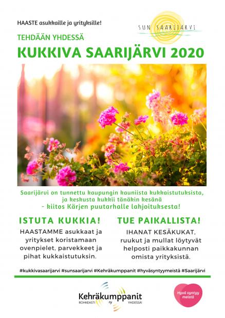 Kukkiva Saarijärvi 2020 haastekampanja asukkaille ja yrityksille